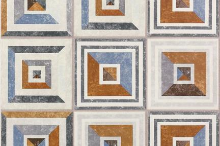 אריחי ריצוף וינטג' סדרת Toledo 18183. ענתיק מעורב גאומטרי חום תכלת  גודל: 18*18